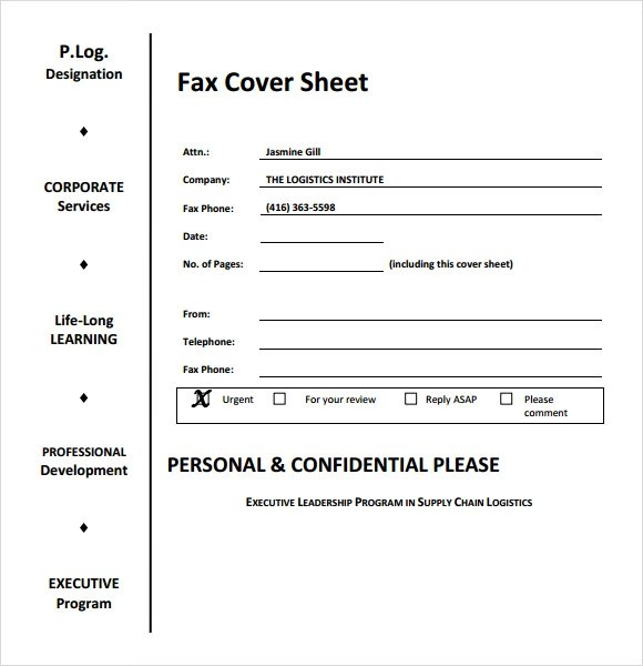 Sample Fax Cover Sheet for Resume - 7+ Documents in PDF, Word - fax cover sheet templates