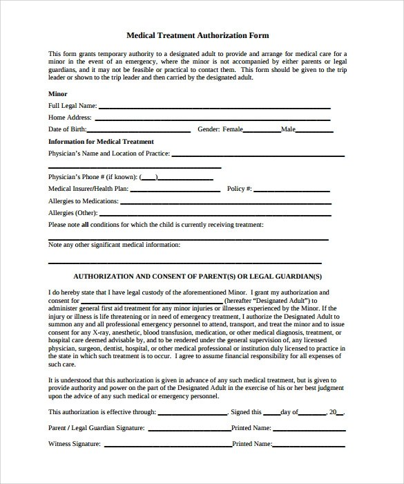 10 Sample Medical Treatment Authorization Letter \u2013 Free , Examples