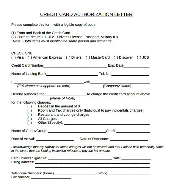 9 Sample Credit Card Authorization Letter \u2013 Free , Examples  Format - credit note letter