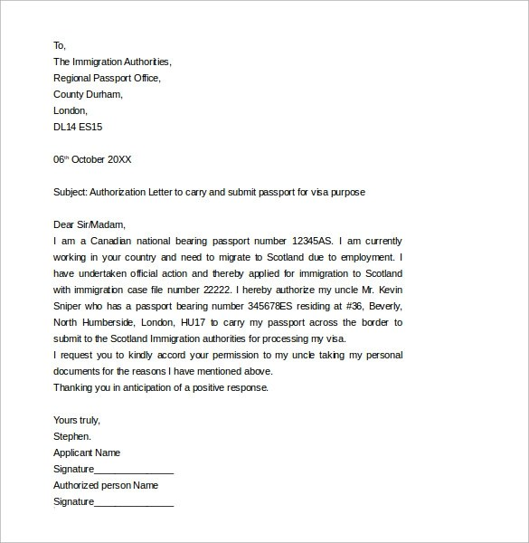 12 Passport Authorization Letter Templates \u2013 Samples , Examples
