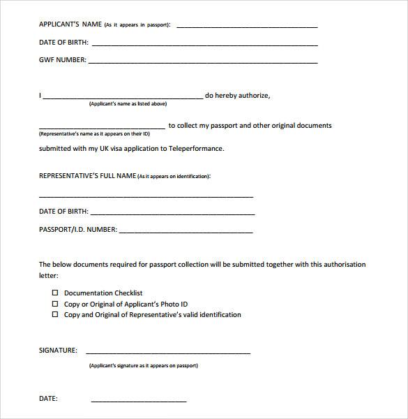 12 Passport Authorization Letter Templates \u2013 Samples , Examples - passport authorization letter