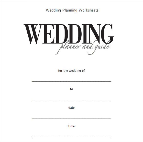 wedding plan worksheet