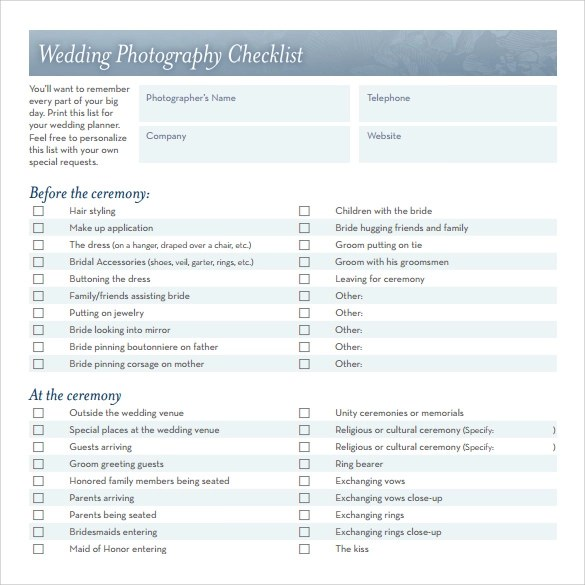 Sample Wedding Checklist - 12+ Documents in PDF, Word