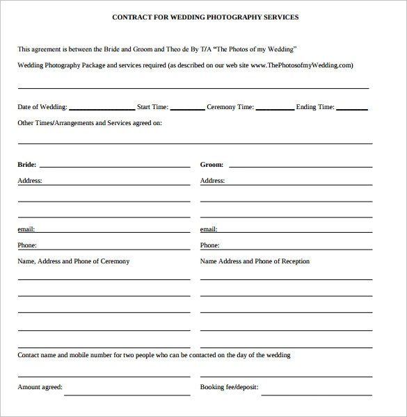 Wedding Contract Template - 23 + Download Free Documents in PDF - photography services contract
