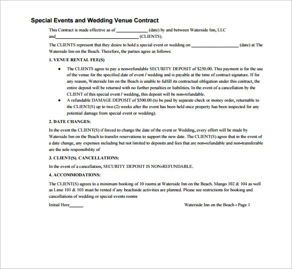 20 Wedding Contract Templates to Download Sample Templates