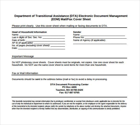 Generic Fax Cover Sheet todaysclix