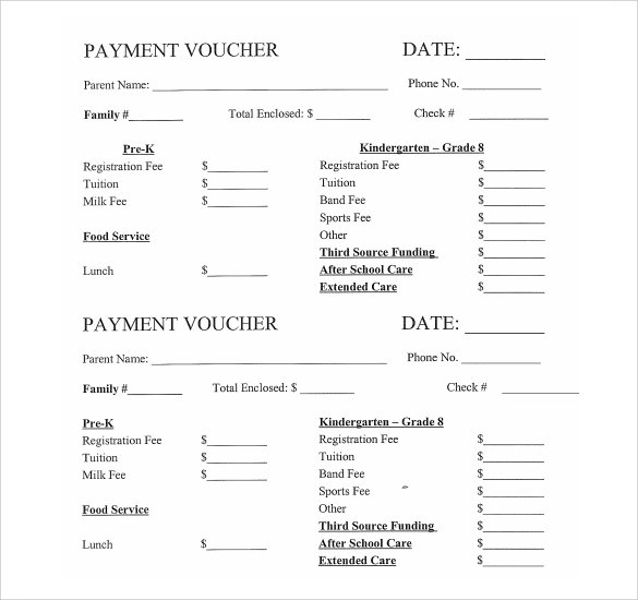10 Payment Voucher Templates to Download Sample Templates - Lunch Voucher Template
