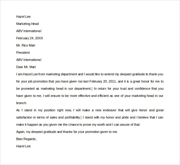 Thank You Email To Boss For Promotion Cover Letters And Sample Thank You Letter Template 16 Free Documents