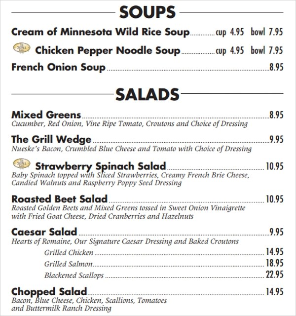 Sample Lunch Menu Template - 14+ Download Documents in PDF, PSD