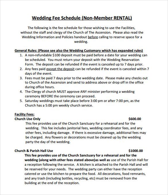 wedding schedules template - Towerssconstruction