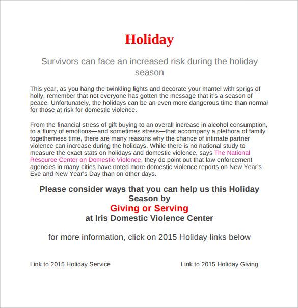 holiday memo - Onwebioinnovate - holiday memo template