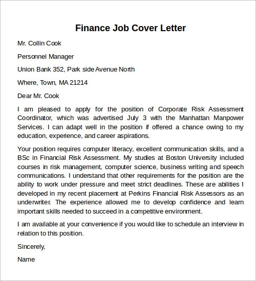 Sample Cover Letter Examples - 12+ Free Download Documents in PDF - finance cover letter examples