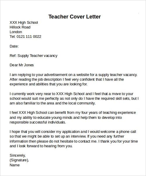 teacher cover letter high school