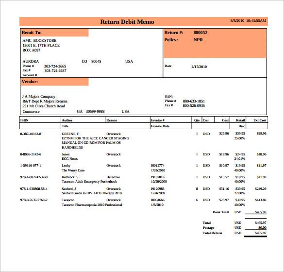 debit memo sample