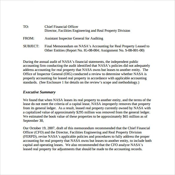 9+ Sample Accounting Memo Templates Sample Templates
