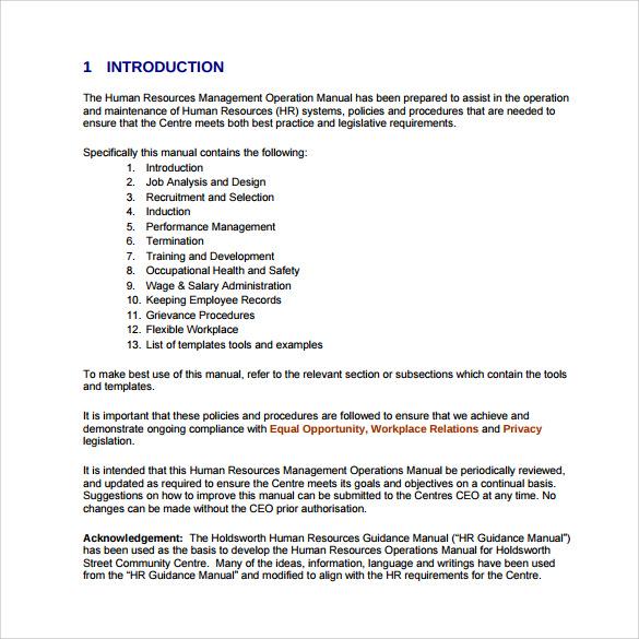 simple procedures manual template - operating manual template