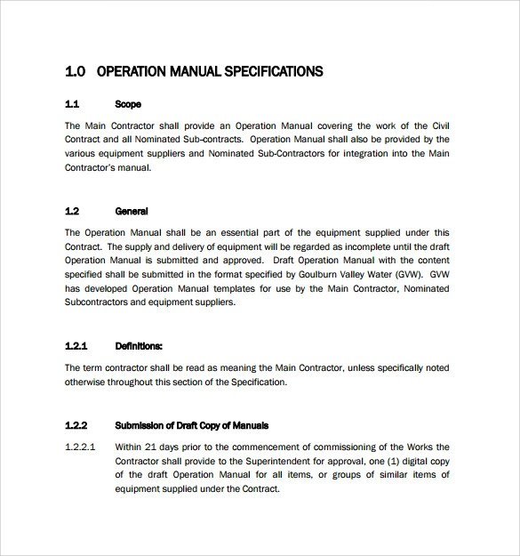 Sample User Manual Sample Operations Manual Template Employment
