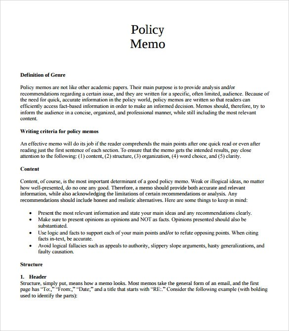 7+ Blank Memo Samples Sample Templates - policy memo template