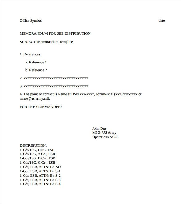 Sample Army Memo - 5+ Documents in PDF, Word, Google Docs