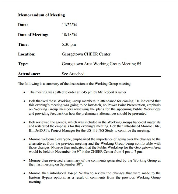 11 Meeting Memo Templates to Download Sample Templates