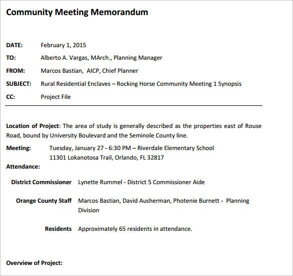 Sample Meeting Memo Template - 14+ Free Documents in PDF , Word