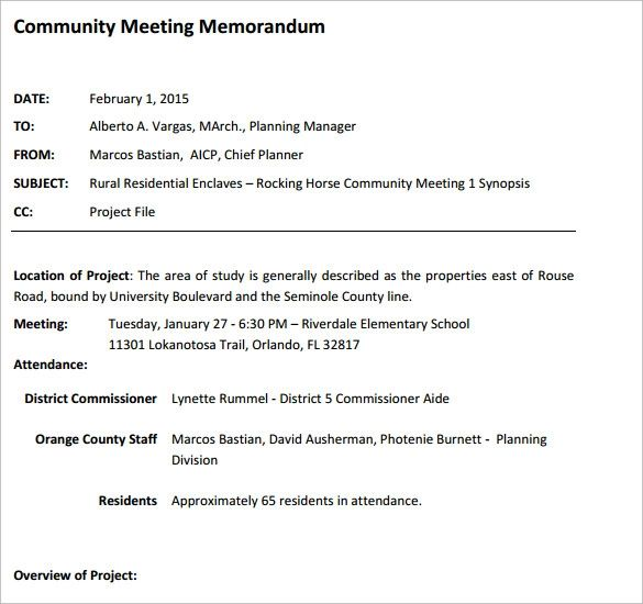 meeting memorandum sample