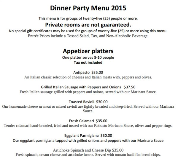 16+ Sample Party Menu Templates Sample Templates