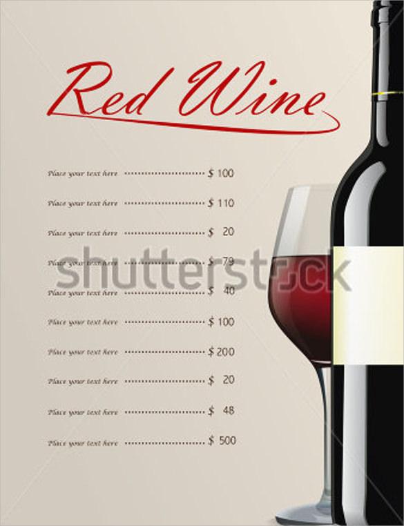 Sample Wine Menu Template - 12 + Download Documents in Vector EPS