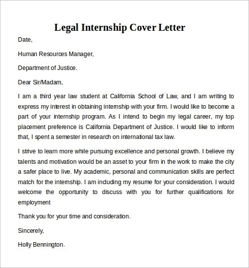 law internship cover letters