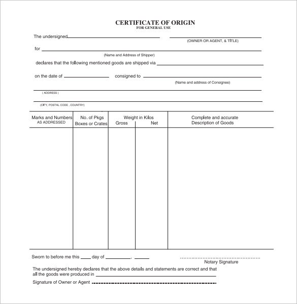 Sample Certificate of Origin Template - 15+ Free Documents in PDF, Word