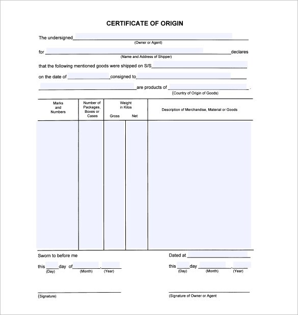15+ Certificate of Origin Templates \u2013 Samples, Examples  Format - Certificate Of Origin Forms