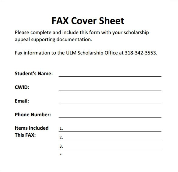 18 Printable Fax Cover Sheet Templates to Download Sample Templates
