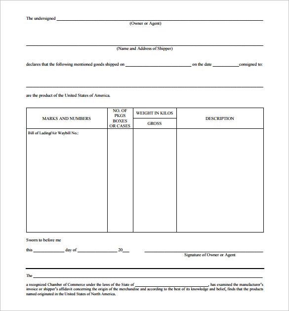 15+ Certificate of Origin Templates \u2013 Samples, Examples  Format