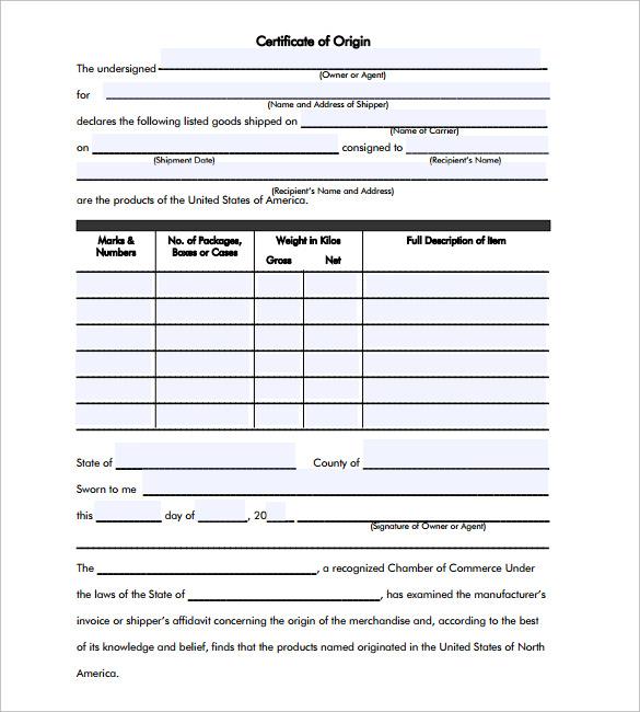 printable certificate of origin template