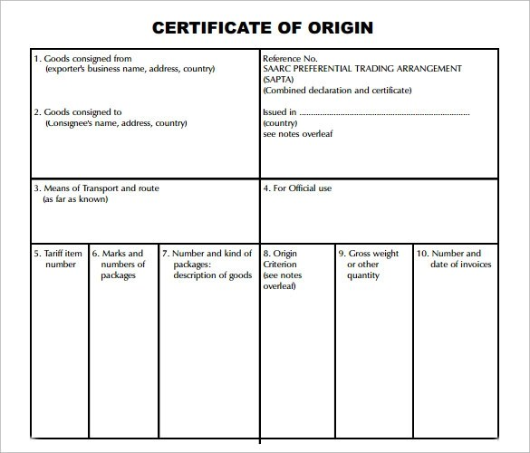 country of origin document - Ozilalmanoof - example certificate of origin