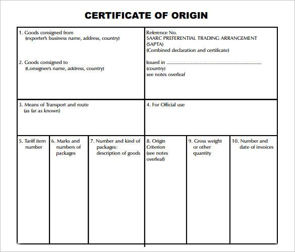 Certificate Of Origin Template Word Doc – Generic Certificate of Origin
