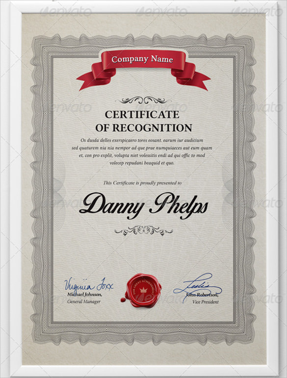 Sample Certificate of Recognition Template - 26+ Documents in PDF - sample certificate of appreciation