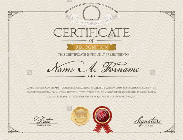 cerificate of recognition