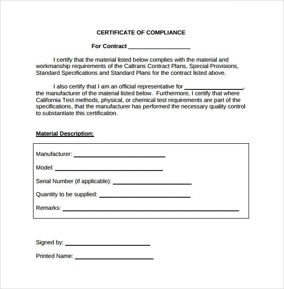 13+ Certificate of Compliance Samples Sample Templates