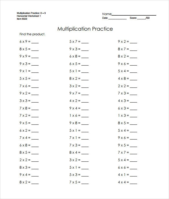 6+ Sample Horizontal Multiplication Facts Worksheets Sample Templates - Horizontal Multiplication Facts Worksheets