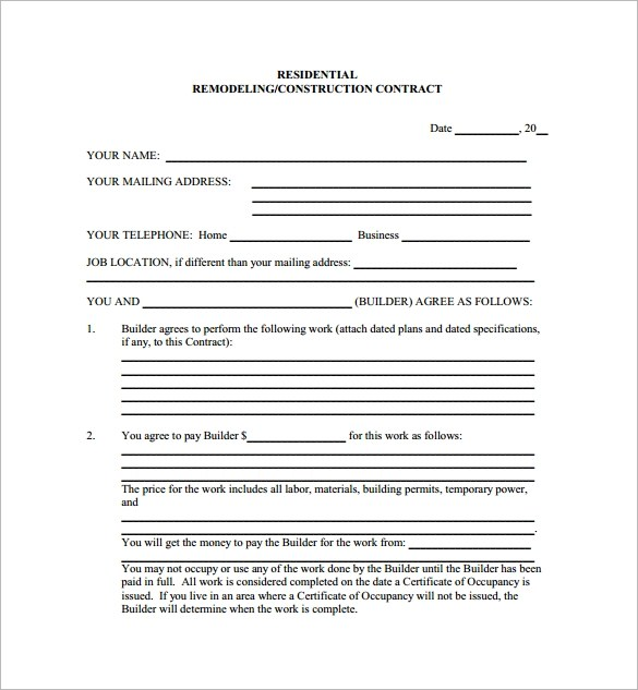 sample roofing contract template - free construction contracts templates