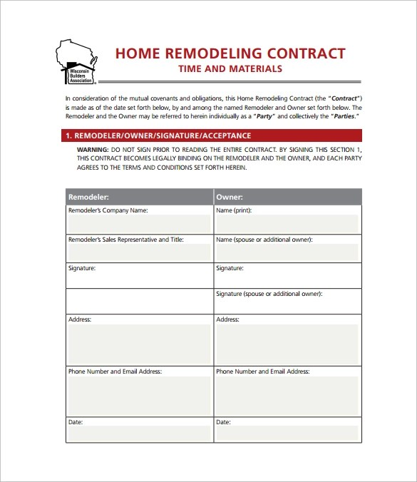 11 Home Remodeling Contract Templates to Download for Free Sample