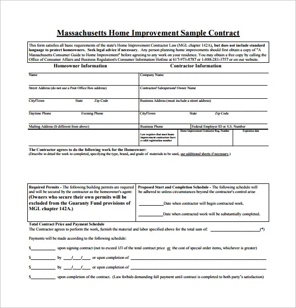 Home Remodeling Contract 10 Download Free Documents In Pdf