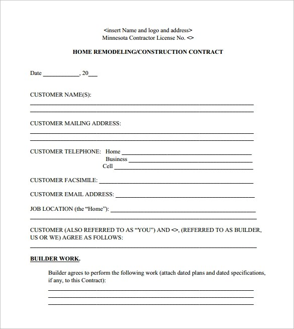 Remodeling Contract Template - 8+ Download Free Documents in PDF - free construction contracts