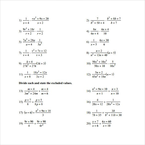 11+ Sample Algebraic Multiplication Worksheets Sample Templates