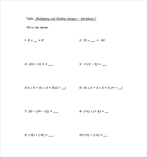 9 Multiplying Integers Horizontal Worksheet Templates to Download - Horizontal Multiplication Facts Worksheets