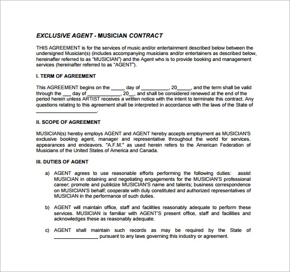 10 Booking Agent Contract Templates to Download Sample Templates - agent contract template