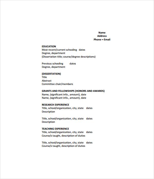 cv sample pdf