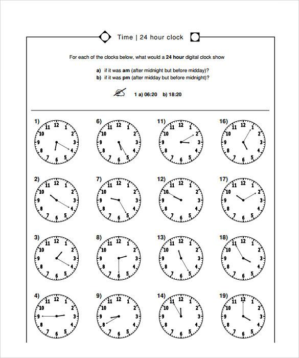 9+ Time Worksheet Samples Sample Templates - time worksheets