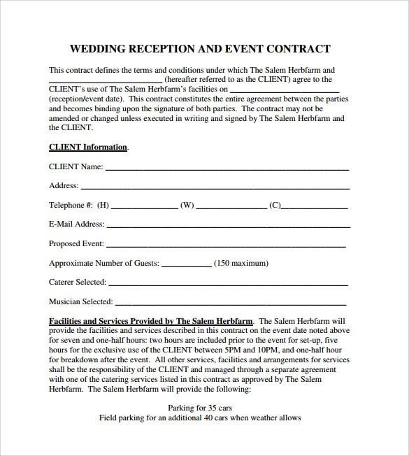 Sample Wedding Planner Contract Template | Resume Maker: Create